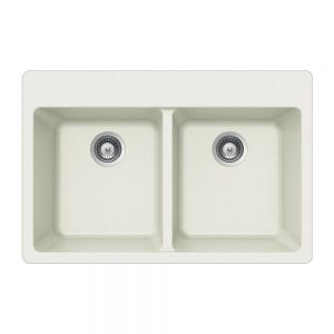 SiOStone Topmount 50/50 Double Bowl (SIO-3322DT-WH)